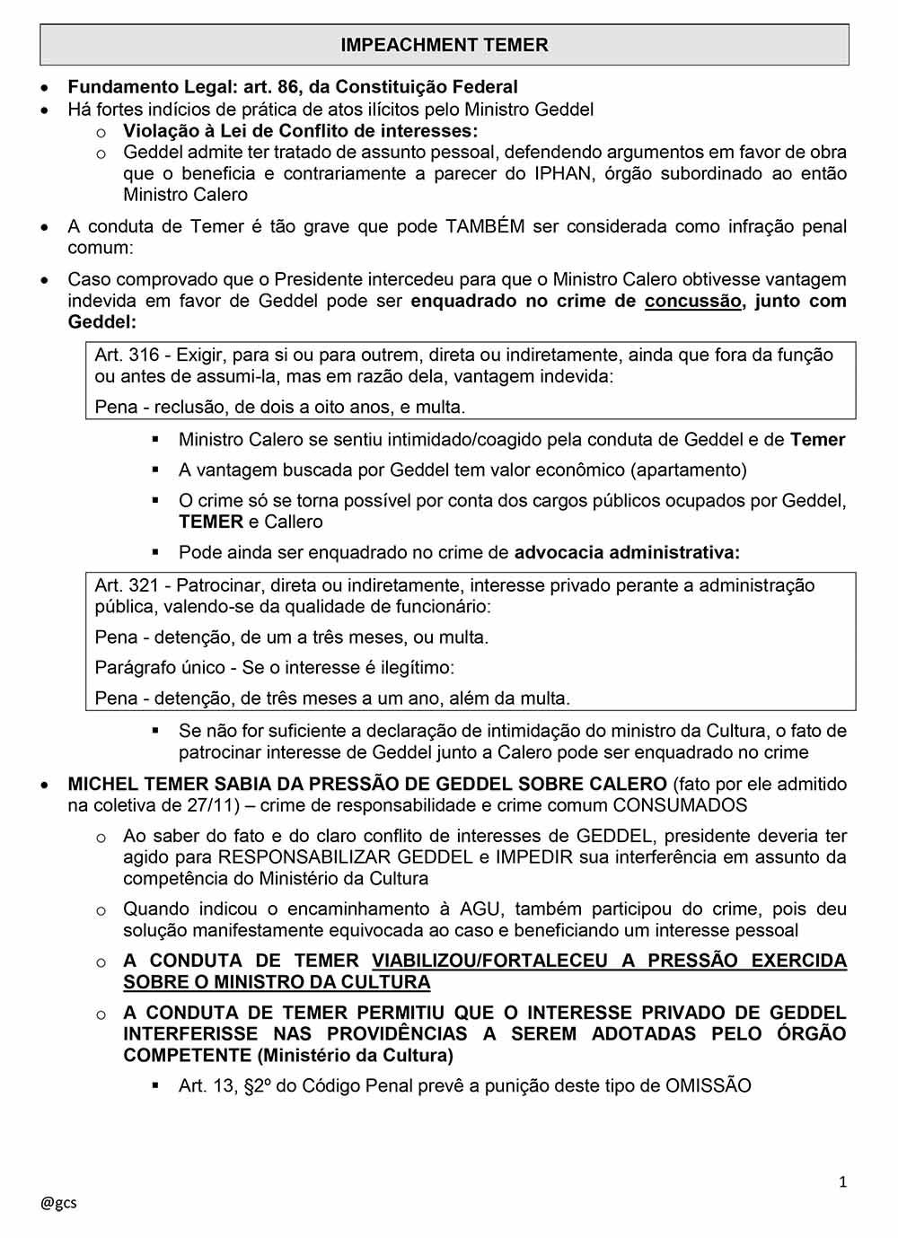 Impeachment Michel Temer 1