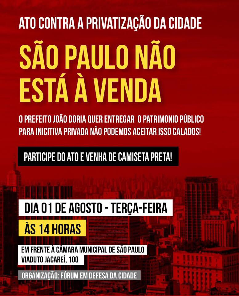 """""""São Paulo Não Está à Venda"""", reivindicam movimentos populares"""