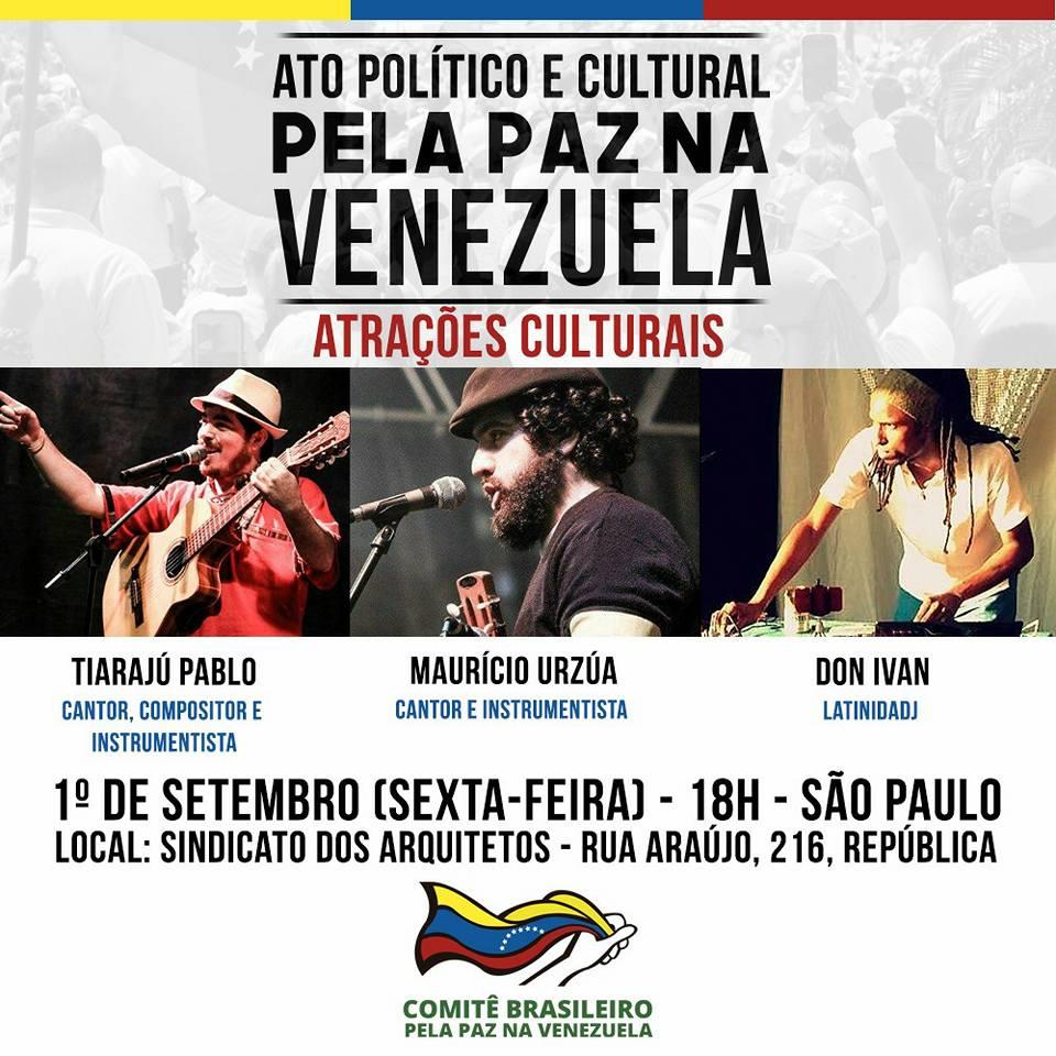 Comitê pela Paz na Venezuela faz ato nesta sexta-feira (01/09), em SP