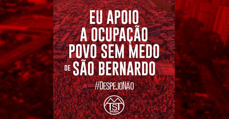 Todo apoio à Ocupação Povo Sem Medo, em SBC!