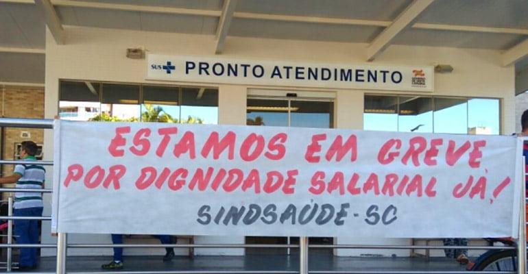 Trabalhadores fazem nova greve por atraso salarial no Hospital Florianópolis