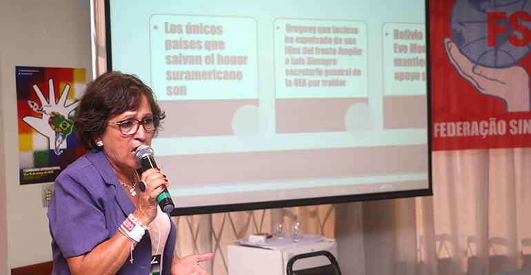 'As massas reclamam a unidade', conclama Carmela Sifuentes