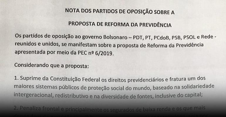 Partido de oposição se manifestam contra a Reforma da Previdência